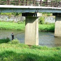 盛岡市中心部の毘沙門橋下で釣りができる風情, Мориока