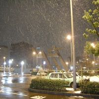 Snowing night on Kanazawa Station, Каназава