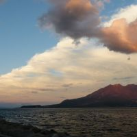 Kinko-wan Bay and Sakurajima Volcano complete with typhoon tail, Kagoshima, Изуми
