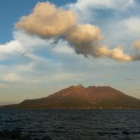 Kinko-wan Bay and Sakurajima Volcano complete with typhoon tail, Kagoshima, Кагошима