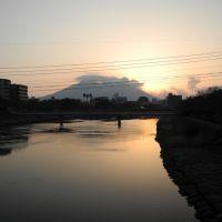 甲突川と朝の桜島(F), Кагошима