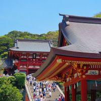 鶴岡八幡宮 舞殿と本宮 Tsurugaoka Hachimangu, Камакура