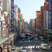 Osaka: View over a Den Den Town street from a footbridge, Моригучи