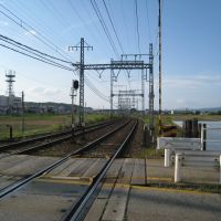 新祝園駅北側の踏切 京都方面, Хираката