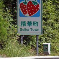 entry sign for Seika Town on KEINAWA EXPRESSWAY, Хираката