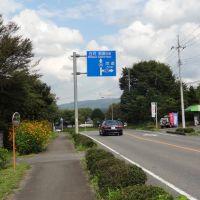 国道294号線睦家を北へ行く-前方に道の駅東山道伊王野, Йоно