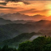 Last sunset over the Northern Alps, Отсу