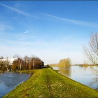 High water on the river Maas, Venlo, The Netherlands, Венло