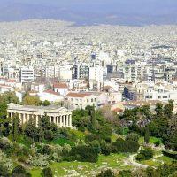 Ο ναός του Ηφαίστου(θησείο), στο βάθος η Αθήνα.-The temple of Hephaestus (Theseion) in Athens., Афины