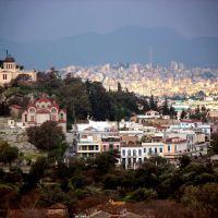 Το παλιό Αστεροσκοπείο Αθηνών όπως φαίνεται από Σερβίας Καραγιώργη - The old Observatory of Athens, Афины