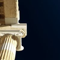 Acrópolis de Atenas. Detalle de columna en los Propíleos., Афины