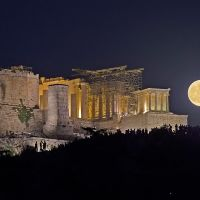 Moonrise by the Acropolis, Афины