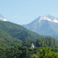 View of Sheubani Church & Mt. Shoda from Moedani, Oni, Они