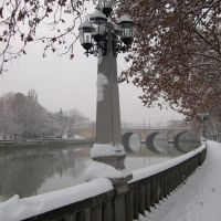 A Lantern and the River Mtkvari in snow, Тбилиси