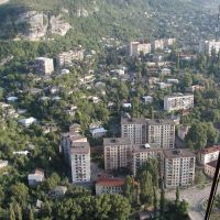 View from cable car, Чиатура