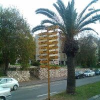 Directions & Distances sign in Kiryat Gat, Кирьят-Гат