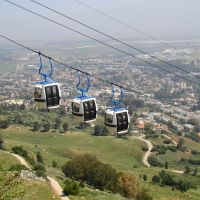 Israel. Manara Cliff Cable Car. In the distance - town Kiryat Shmona, Кирьят-Шмона