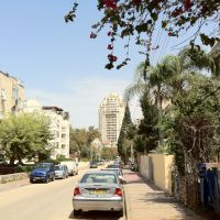 Tabak St. with Tzameret tower in the background, Ramat Hasharon, April 2011, Герцелия