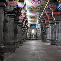Thousand Pillar Hall in the Meenakshi Sundareswarar Temple. Madurai, India., Мадурай