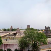Panoramic view of  the Meenakshi Sundareswarar Temple. Madurai, India., Мадурай