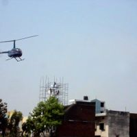 Flower Droping By Helicopter at Rampur Jain Temple, Рампур