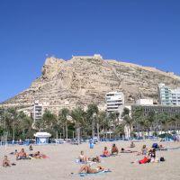 Sta Bárbara desde la playa. Alicante. España., Аликанте