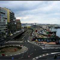 : El puerto pesquero de Vigo, desde A Laxe, Виго