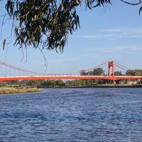 Necochea (Bs.As.) - Otra vista del Río Quequen y el puente colgante que atraviesa el mismo - ecm, Некочеа