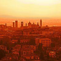 ITA Bergamo (Citta Alta) from San Vigilio (Funicolare Colle Aperto - San Vigilio) ~sepia original~ by KWOT, Бергамо