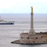 """Arrivando a Messina - La Madonnina - Statua della Madonna della Lettera sulla torre """"Campana"""" -, Мессина"""