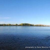 Набережная Иртыша вид с комсомольского острова (панорама 180), Усть-Каменогорск