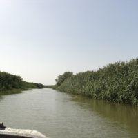 На катере по правому рукаву (каналу) реки Урал, Балыкши