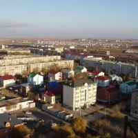 Вид на жилые дома в районе площади им.Курмангазы, Атырау(Гурьев)
