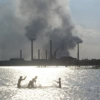 Swimmers with Smoking Stacks in Background, Балхаш