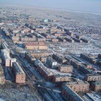 Вид на город с телевышки зимой, Балхаш