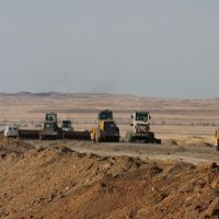 Constructing the new M38 road to Semey, Алексеевка