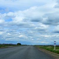 """дорожный знак: """"Место отдыха"""", имеется эстакада, Краснокутск"""