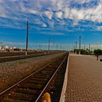 Looking north Zhangiztobe Train Station, East Kazakhstan, Жангизтобе