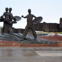 Monument to the Virgin lands first plowmen, Амангельды