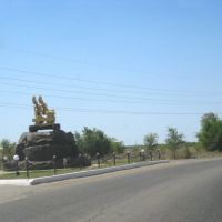 Track-mounted drill at the road junction in Zhezkazgan settlement, Кургальджинский