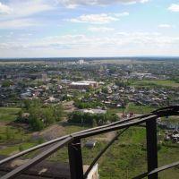 Вид с заводской трубы на центр Макинска и залинию, также видно что горизонт круглый! (View of the center of Makinsk and Zaliniya district from the stack), Макинск