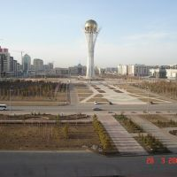 General view of the central square of the Kazakhstani capital with Baiterek Tower, Астана