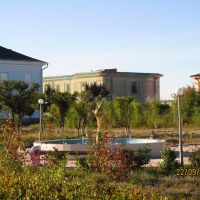 Garden and a fountain at the National Nuclear Center of the Republic of Kazakhstan, Курчатов