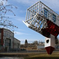 Dennis Oppenheims controversial upside down church sculpture, Calgary, Калгари