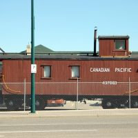 Canadian Pacific Railway Caboose No. 437083 on display at Lethbridge, Alberta, Canada, Летбридж
