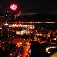 Canada Day Fireworks Vancouver with sunset over North Van, Ванкувер