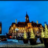 VUE CRÉPUSCULAIRE POUR LHOTEL DE VILLE DE MONTRÉAL AVANT NOEL 2013 _ THE CITY HALL OF MONTREAL SEEN AT DUSK BEFORE CHRISTMAS, MONTRÉAL, QUÉBEC, CANADA, Монреаль