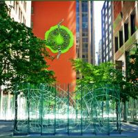 """Bright corner in the shadows of downtown towers. Adelaide Street Courtyard installation.  Stacey Spiegel -1991. The artist calls this """"Synthetic Eden""""., Торонто"""