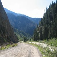 Road from Moldo-Ashuu pass, Боконбаевское