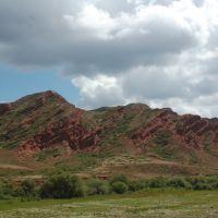 вид на горы с дороги, Кызыл Суу